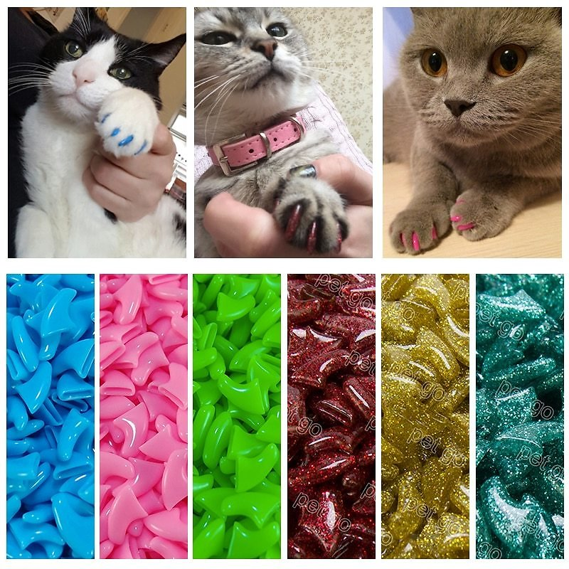 US $0.86 |New FASHION Colorful Cat Nail Caps Soft Cat Claw Soft Paws 20 PCS/lot with Free Adhesive Glue Size XS S M LGift for Pet|soft Paws|cat Nailcat Nail Caps - AliExpress