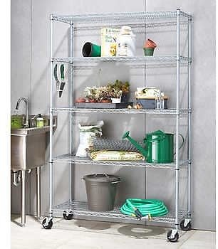 TRINITY 5-Tier Outdoor Wire Shelving Rack with Wheels, 48