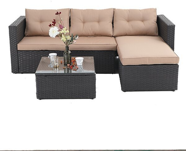 Steward Outdoor 3 Piece Rattan Sectional Seating Group with Cushions