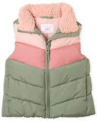 Girls Sleeveless Chevron Puffer Vest