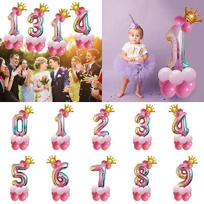 32 Inch Crown Number Foil Balloon Digit Ballon Wedding Birthday Party Decoration