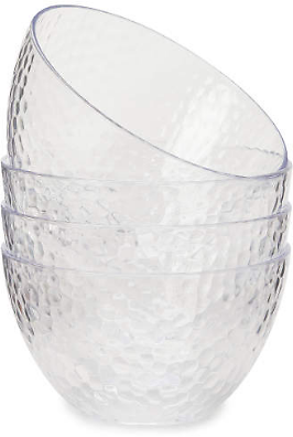 Clear Hammered 4-Piece Plastic Salad Bowl Set - Big Lots