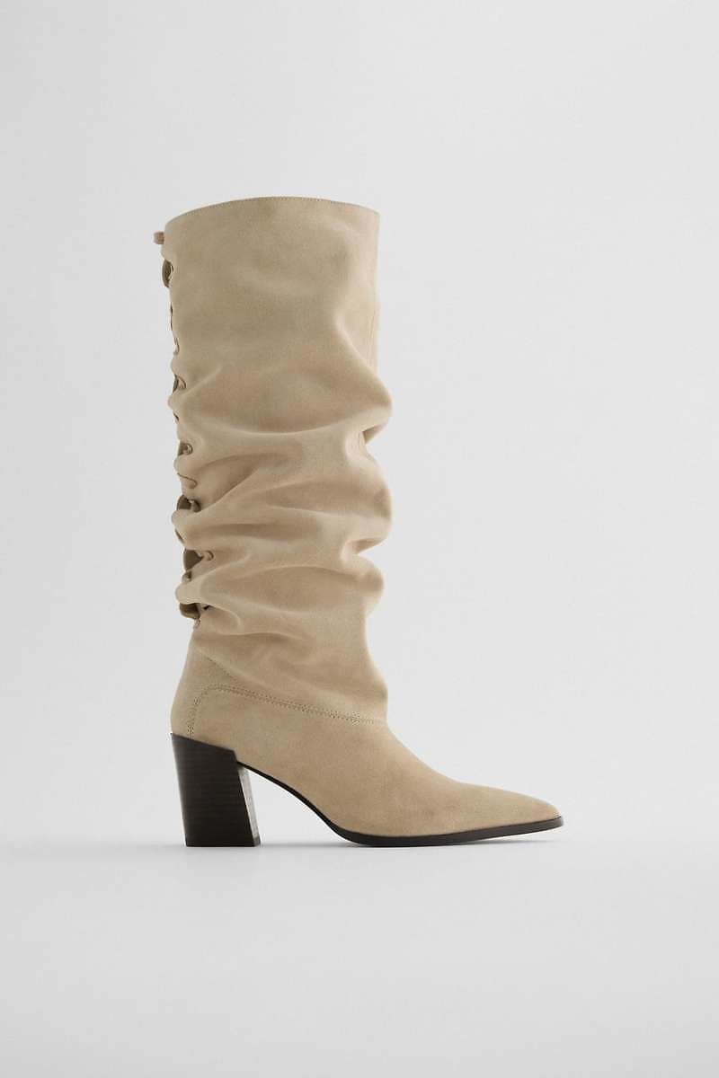 SPLIT SUEDE HEELED KNEE-HIGH BOOTS WITH BRAIDED DETAIL