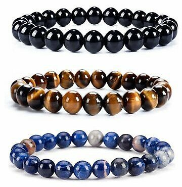 8mm Natural Natural Stone African Roar Round Beads Bracelet Bangle Tiger's Eye