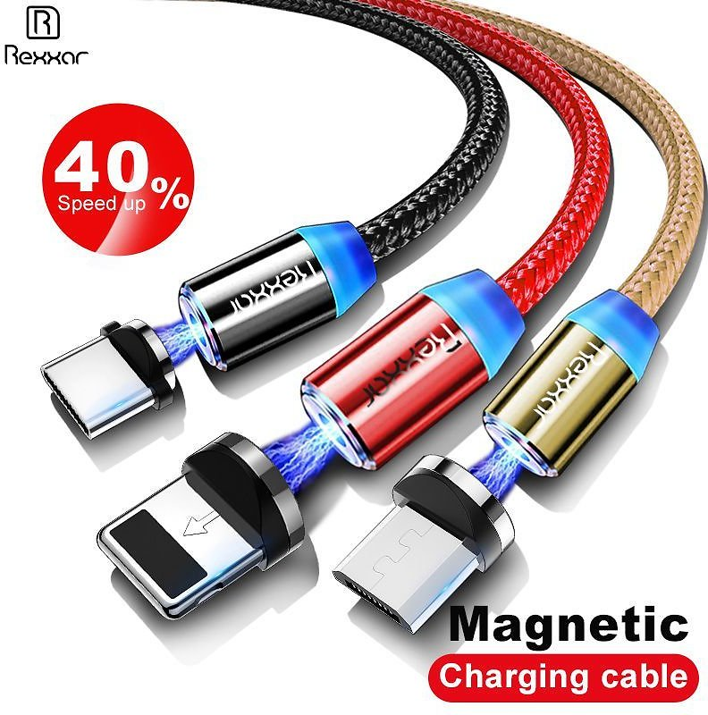 Rexxar 1M Magnetic Charge Cable Micro USB Cable For IPhone X 7 XR XS Max Magnet Charger USB Type C Cables LED Charging Wire Cord