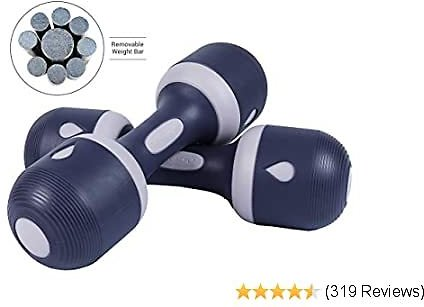 Best Nice C Adjustable Dumbbell Weight Pair, 5-in-1 Weight Options, Non-Slip Neoprene Hand, All-Purpose, Home, Gym, Office