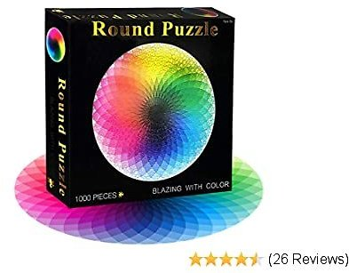 FIGHTART Puzzles for Adults 1000 Piece Gradient Color Rainbow 2020 Large Round Jigsaw Adults Kids Teen Puzzle Difficult Challenge