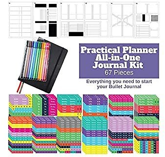 Practical Planner Bullet Dotted Journal Kit - Huge Value Set 67 Pieces, A5 Journal Hardcover Notebook, Fineliner Pens, Stencils and Planner Stickers for Bullet Journals Habit Tracker (Black)