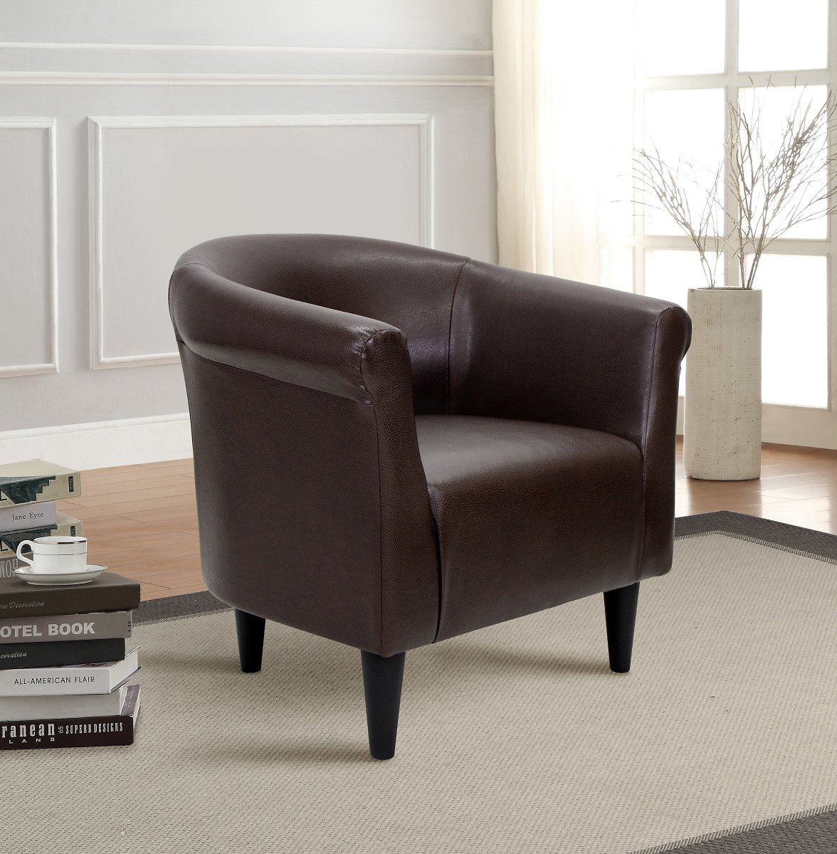 Mainstays Faux Leather Bucket Accent Chair