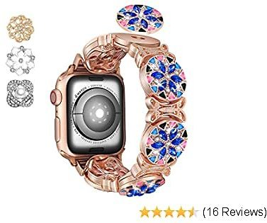 Fohuas Colorful Bling Band Compatible for Apple Watch Series 5 4 3 2 1,Blue BOHO Stainless Steel Apple Watch Jewelry Bracelet,DIY Rhinestone Iphone Watch Sparkling Wristband Strap-(Rose Gold Boho, 42mm/44mm)