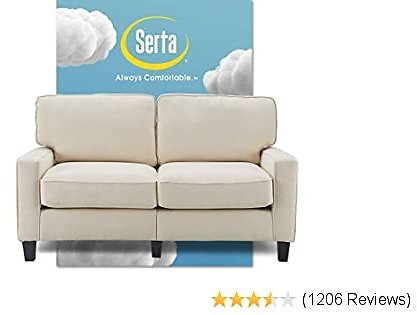 Serta Palisades Upholstered Sofas for Living Room Modern Design Couch, Straight Arms, Soft Fabric Upholstery, Tool-Free Assembly, 61