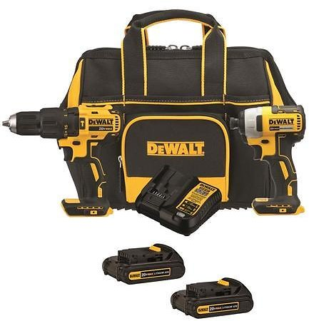 DEWALT 2-Tool 20-Volt Brushless Power Tool Combo Kit with Soft Case (Charger Included and 2-Batteries Included)
