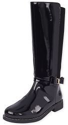 Girls Bow Faux Patent Leather Tall Boots