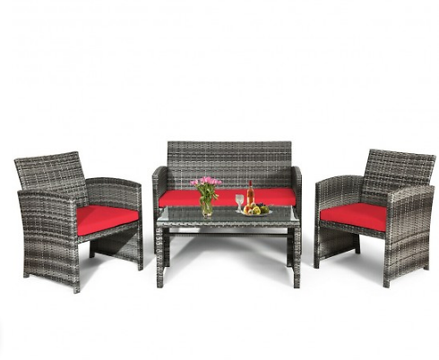 Costway 4pcs Patio Rattan Furniture Set