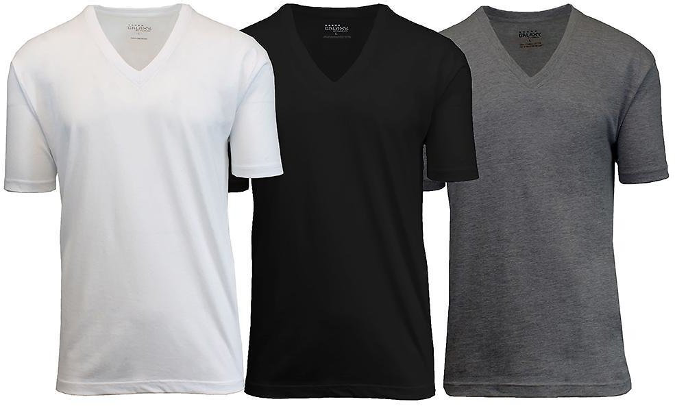 3-Pack: Galaxy By Harvic Men's Egyptian Cotton V-Neck Undershirt