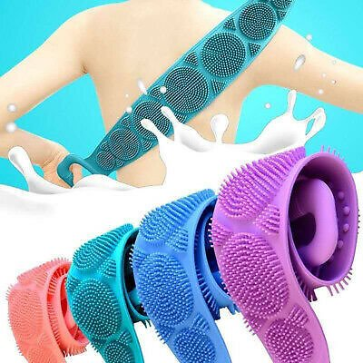Silicone Back Body Bath Shower Brushes Belt Scrubber Massage Cleaning Towel