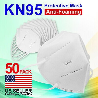 50 PCS KN95 Protective 5 Layer Face Mask Disposable Respirator BFE 95% Safety
