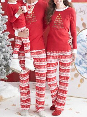 Casual Christmas Parent-Child Long Sleeve Home Tracksuit Set Activewear from Women's Clothing on Banggood.com