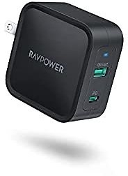 USB C Charger, RAVPower 65W 2-Port PD Charger GaN Tech Fast Charging Wall Charger Adapter with Foldable Plug for MacBook Pro IPad Pro Nintendo Pixel, IPhone 11 Pro Max X XS XR 8, Galaxy S9 S9+ S10