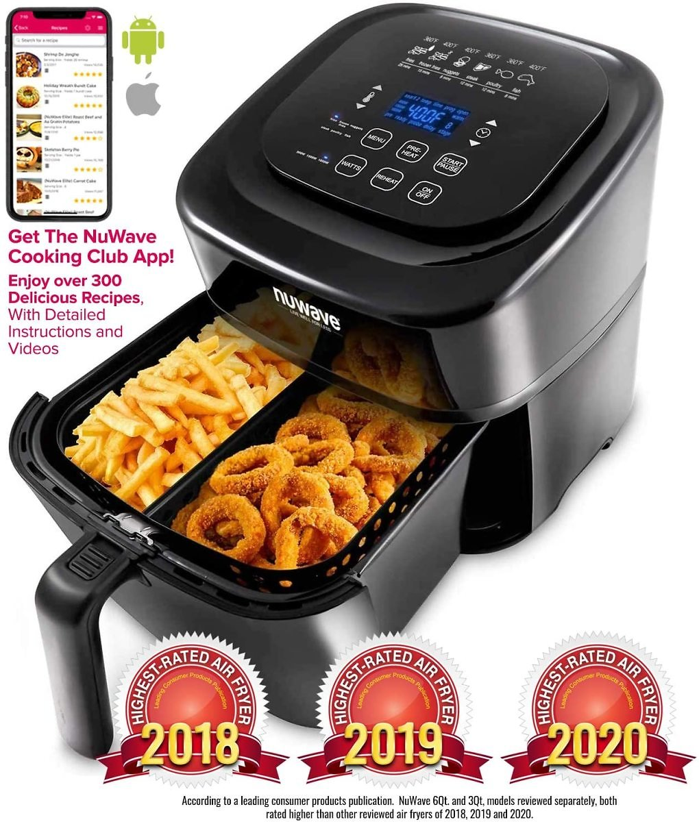 NUWAVE BRIO 6-Quart Digital Air Fryer with One-touch Digital Controls, 6 Easy Presets, Temperature Control
