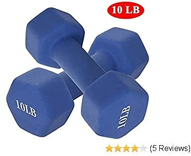 MOYCK Barbell Neoprene Coated 6-15 Pound Weights Dumbbell (Set of 2),Blue