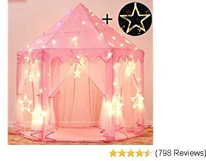 EXTRA 50% OFF Princess Castle Tent Hexagon Playhouse with Large Star Lights Toys for Children Indoor or Outdoor Games (Pink)