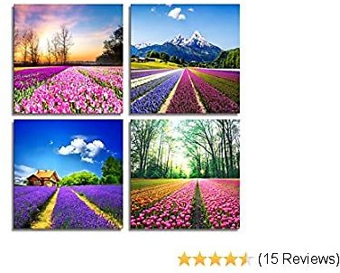 MOCO ART-Canvas Prints Tulip Lavender Field Wall Art Colorful Flowers Artworks On Canvas Landscape Painting Framed for Modern Home Decoration (30x30cmx4pcs)