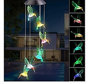 BINWO Wind Chimes Outdoor Solar Hummingbird Wind Chimes Color Changing LED Mobile Wind Chime,