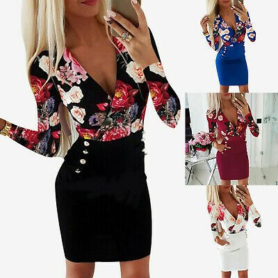 Mini Dresses Bodycon Womens SEXY Floral Long Sleeve Evening Ladies Dress Party