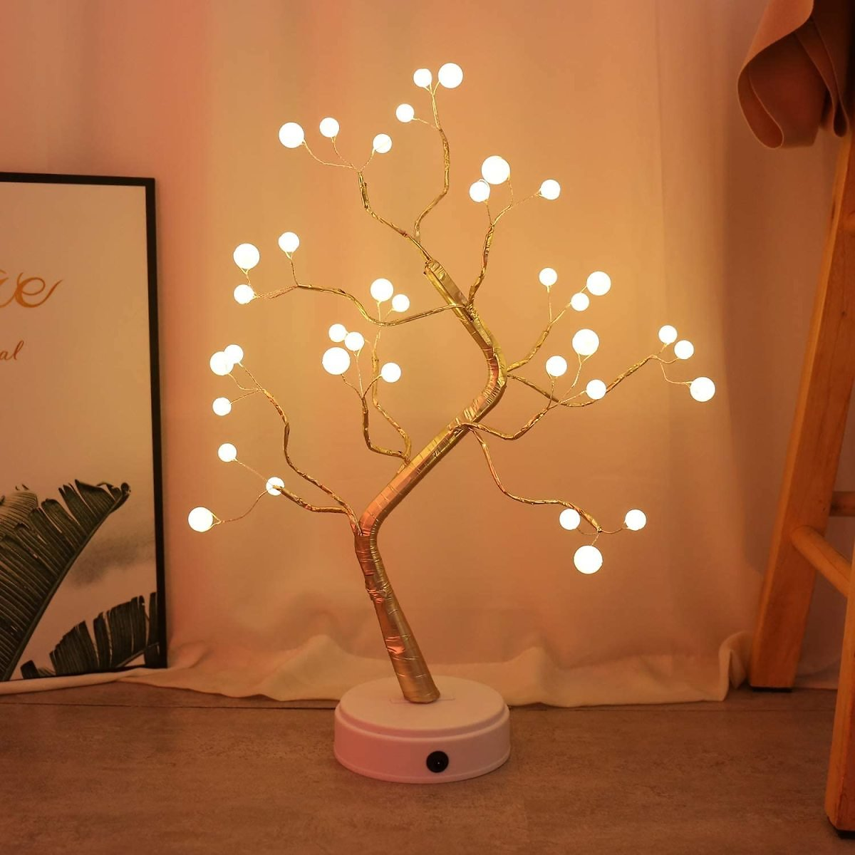 108 LED USB 3D Table Lamp Copper Wire Christmas Fire Tree Night Light for Home Holiday Bedroom Indoor Kids Bar Decor Fairy Light