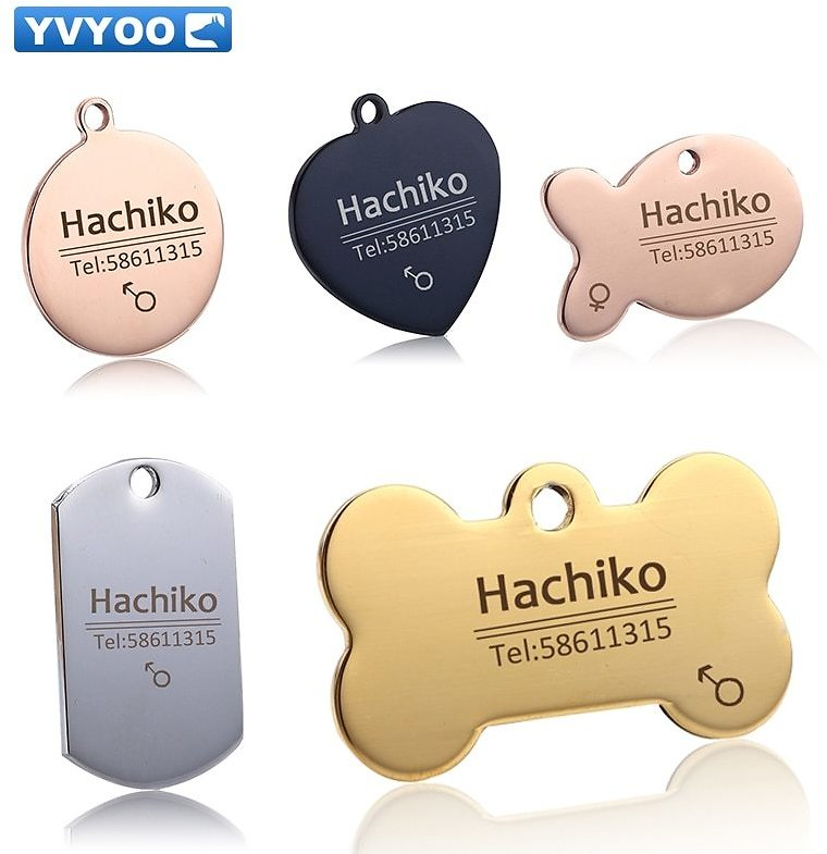 US $1.03 |YVYOO Free Engraving Pet Dog Cat Collar Accessories Decoration Pet ID Dog Tags Collars Stainless Steel Cat Tag Customized Tag|cat Tag|id Dog Tagdog Tag - AliExpress