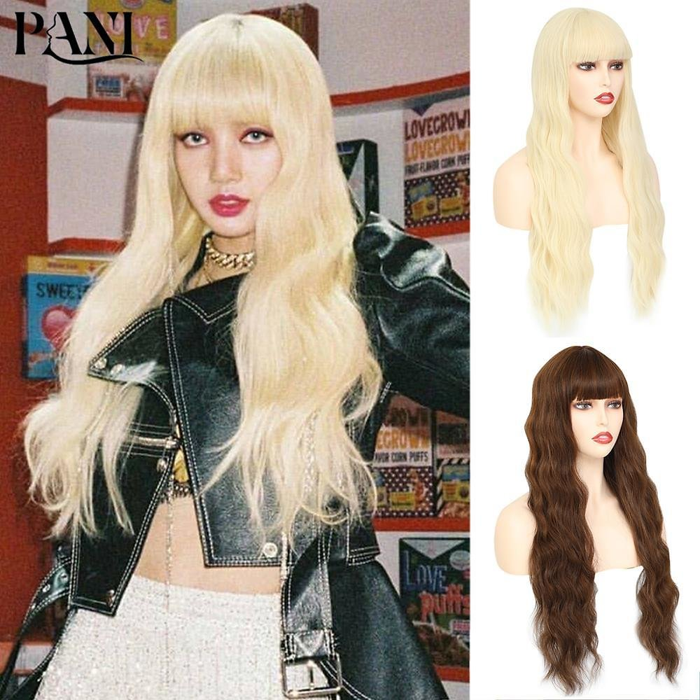613 Blonde Wigs For Women Wavy False Hair Synthetic Hair Wigs With Neat Bangs Women's Long Natural Wigs Lolita Cosplay Wig