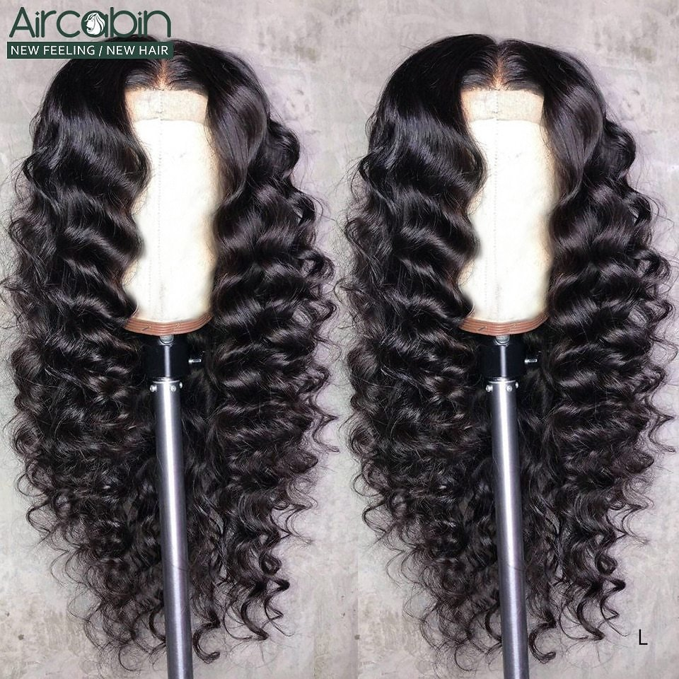 13x6 Lace Front Closure Wigs Loose Deep Wave Brazilian Remy Human Hair Wigs 150 High Density For Black Women