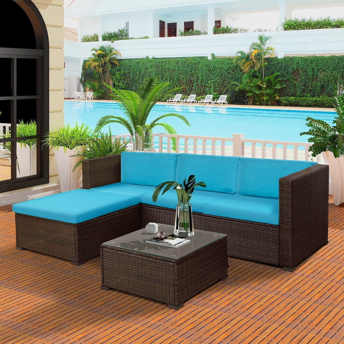 5-Piece-Outdoor-Rattan-Patio-Wicker-Sectional-Set-with-Blue-Seat-and-Back-Cushions-Tempered-Gla