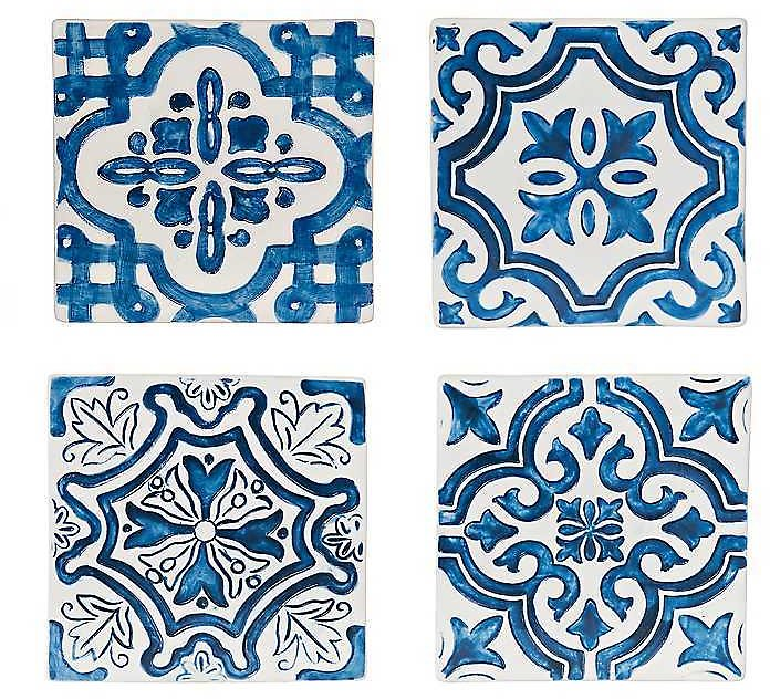 20% Off + Extra 25% Off with LABORDAY | Blue Tile Coasters, Set of 4