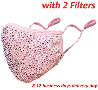NEW BABY PINK Crystal Bling Rhinestone Face Mask Washable with Filter Shower