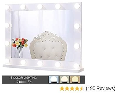 Chende Hollywood Lighted Makeup Mirror with 14 LED Light Bulbs, Lighted Vanity Mirror for Wall with Touch Control Dimmer in Makeup Studio, 3 Color Lighting Modes (31.5