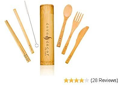 Bamboo Cooking Utensils - Reusable & Sustainable Cutlery Set, Organic Travel Utensil Set With Case (20 X 4.5 Cm), 6 Piece Set for Camping, Office or Home