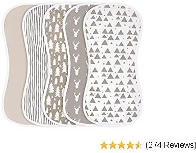Burp Cloths for Baby Boys and Girls - 5 Pack 100% Combed Cotton Baby Burp Set, Extra Absorbent & Soft Burping Cloth, Burp Clothes, Newborn Towel, Excellent Baby Shower/Registry Gift