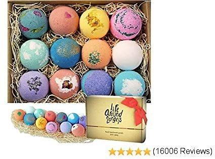 $22.73 List: $26.80 (15% Off) LifeAround2Angels Bath Bombs Gift Set 12 USA Made Fizzies, Shea & Coco Butter Dry Skin Moisturize,