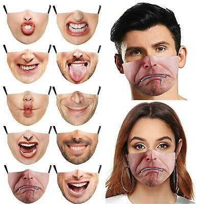 3D-Print Funny Face Mask Protective Covering Washable Reusable Adult-Unisex