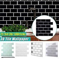 White/Biege/Gray/Light Green/Black 3D Brick Wall Background Stickers Tile Adhesive Wallpaper for Office Kitchen Bedroom Living Room Decorations | Wish