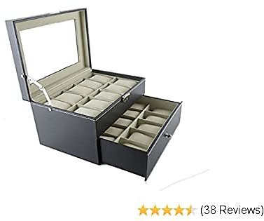 Boby Watch Box Organizer Watch Case for Men Women Double Layer PU Leather 20 Slots for Display Storage Watch Holder with Drawer Glass Top Black