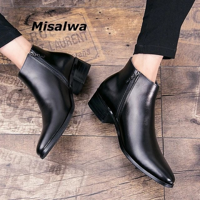 Misalwa Italian Genuine Leather Men Boots Business Winter / Spring Zipper / Lace-up British High Boot Mens Cowhide Pointy Boots
