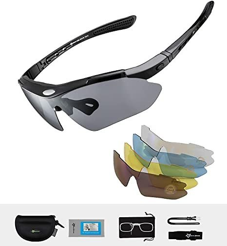 RockBros Polarized Cycling Sun Glasses Outdoor Sports Bicycle Glasses Men Goggles Eyewear 5 Lense - Black One Size China