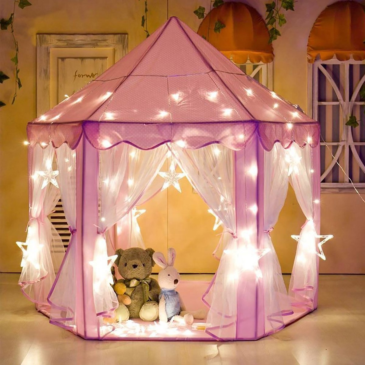Play Tent for Girls Pink Birthday Gift (LED Star Lights)