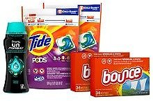Tide Pods, Downy Unstopables Fresh, Bounce Dryer Sheets