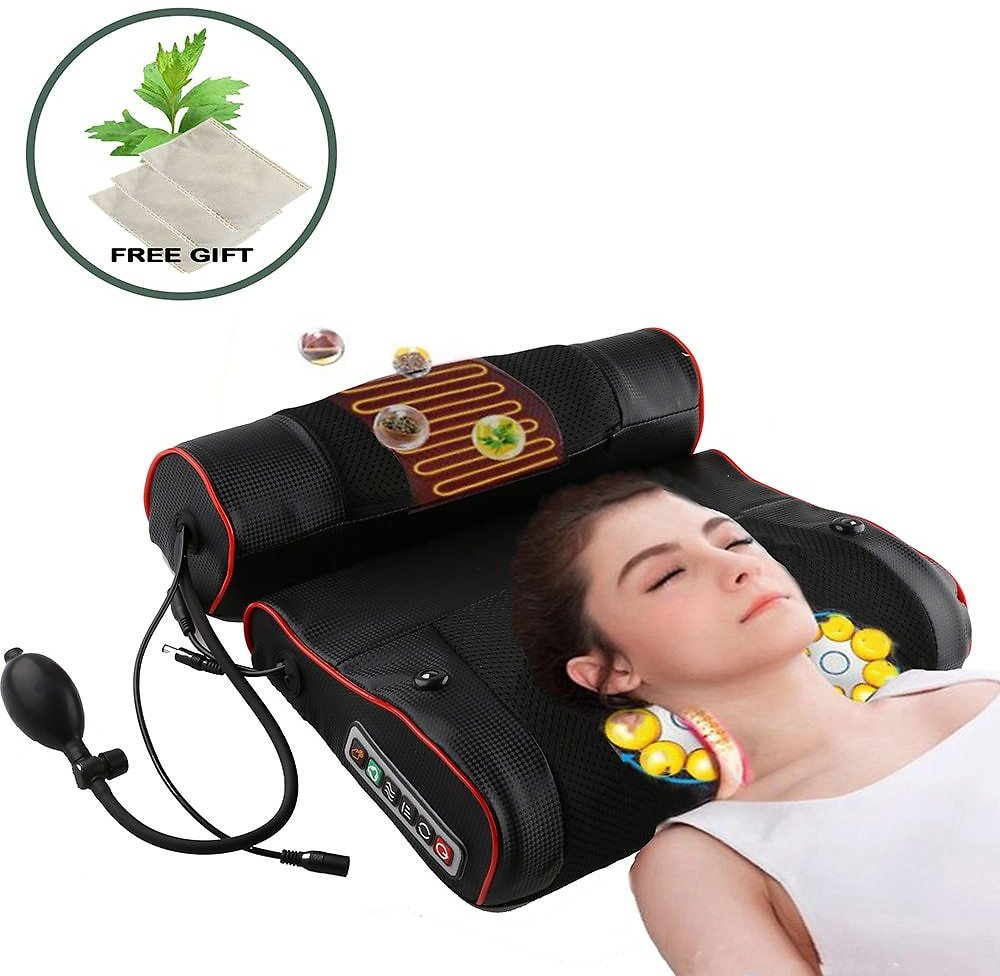 Electric Neck Relaxation Massage Pillow Back Heating Kneading Infrared Therapy Shiatsu AB Massager