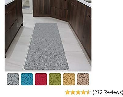 """Shape28 Runner Mat Ultra-Thin Kitchen Rug with Non Slip Rubber Backing 60x23"""", Gray"""