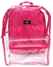 Dickies® Deluxe Clear PVC Laptop Backpack, Pink